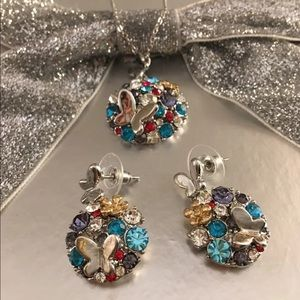 Colorful Butterfly Crystal Necklace and Earrings
